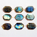 WT-C096 Charm Polygon Faceted connector Labradorite Double bails Wholesale Natural labradorite in high quality gold connector