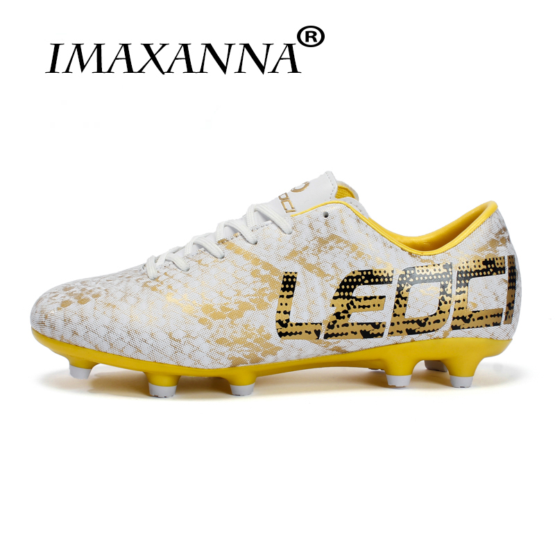 IMAXANNA Hommes Garçons Enfants Chaussures de Football En Plein Air Pelouse Longues Pointes de Football Bottes Crampons Football Chaussures Pour Terrain de football chaussures