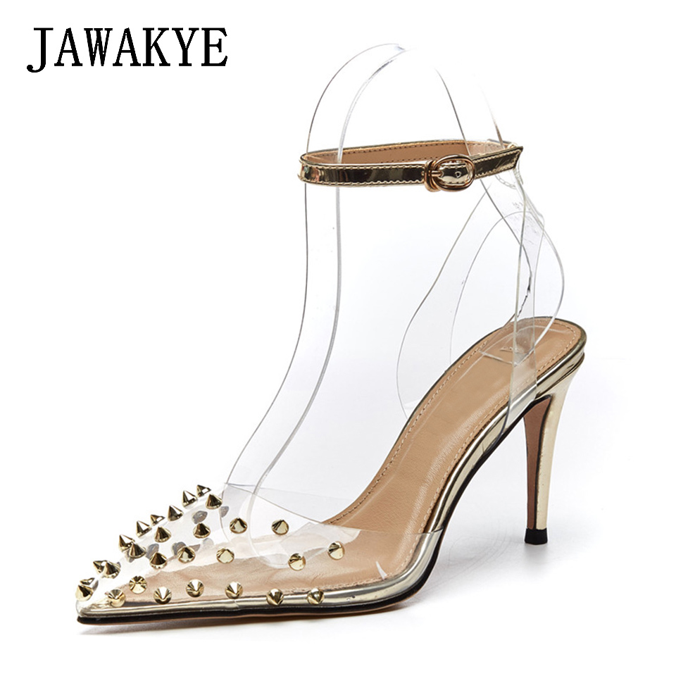 Shallow Clear Thin High Heels Sexy Rivets Spike Women Party Shoes Pointed Toe Classical ankle strap Studs Ladies Party Shoes