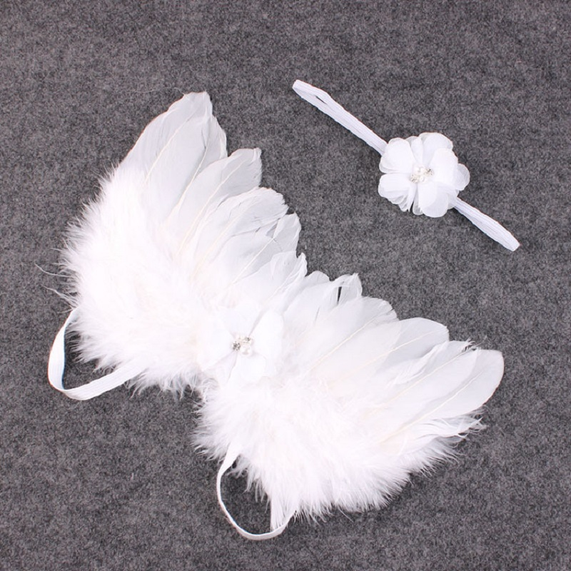 Angel Wings Headband Feather Wings Baby Girl Flower Lace Hairband Photo Shoot Hair Accessories For Newborns Photography Props