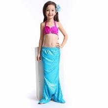 3pcs/set Girls Children Mermaid Tail Swimming Suit Dress Split Swimsuit Costume Swimmable Bikini Swimwear Bathing Suit Costume