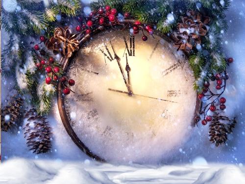 где купить Christmas photo backdrops printed with giant clock Art fabric backdrop for studio children photography backgrounds D-9894 по лучшей цене