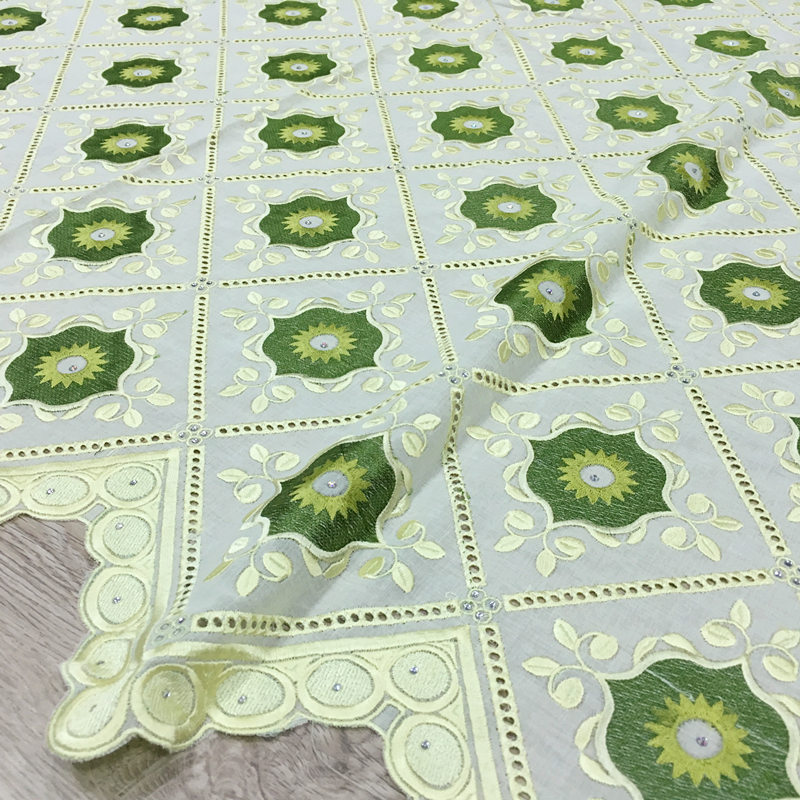 New Design Africa Cotton Swiss Voile Lace Lemon with Green 2019 High Quality Swiss Voile Lace