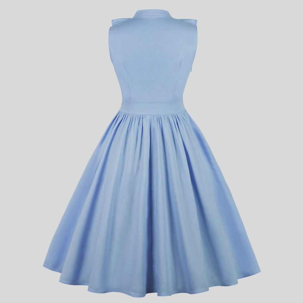a69ec367403 ... Women Elegant Plus Size Dress Ruffle V Neck Pink Blue Elgant Button up  Collar Midi Party ...