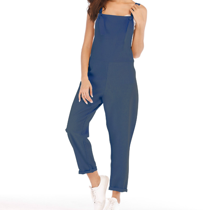 Women Sleeveless Overalls Style Jumpsuits Summer Casual  Streetwear Slim Solid Jumpsuits For Lovely Girls Plus Size S-2XL