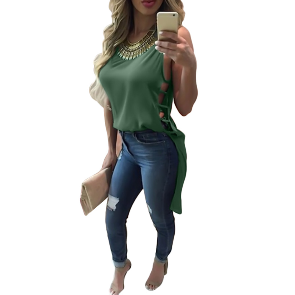 Summer Sexy Women Sleeveless - High Low Tank Tops Vintage Bandage Blouse Casual 1