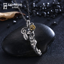 hot deal buy gomaya vintage retro genuine 925 sterling silver skeleton pendant necklace antique fine jewelry gift for women charm punk