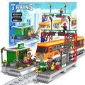928 шт. AlanWhale Пассажирской Станции локомотив Поезда Модель Строительные Блоки Кирпич Playset Железнодорожных Станций Совместимо С Lego