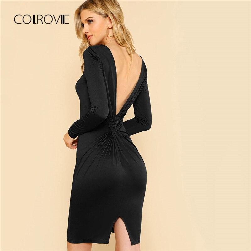 COLROVIE черный спинки твист V Назад разделение сексуальное платье для женщин осень 2018 г. Bodycon с длинным рукавом вечернее мини платья