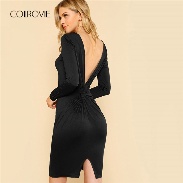 COLROVIE Black Backless Twist V Back Split Sexy Dress Women 2018 Autumn  Bodycon Long Sleeve Party Dress Evening Mini Dresses f617fb64c59b