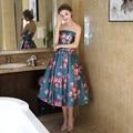 New Arrival Celebrity Dresses 2017 Corset Back Flower  Print Satin Tea Length Evening Dress Gown size 2 4 6 8 10