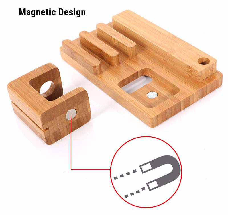 Multifunctional Bamboo USB Charging Dock/Holder for Apple Watch iPhone iPad 15