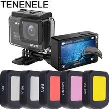 액션 카메라 필터 방수 케이스 하우징 sjcam sj8 pro/plus/air uv 편광 빨간색 노란색 카메라 필터 액세서리