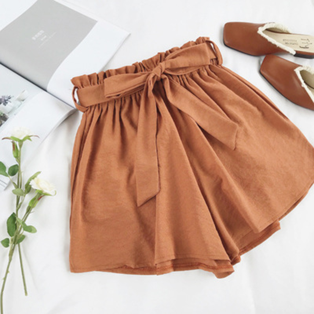 Loose Belted Boho   Shorts   Women High Waist Elastic   Shorts   2018 Summer Sashes Bottom Bow Wide Leg Beach Casual Lady Sexy   Shorts