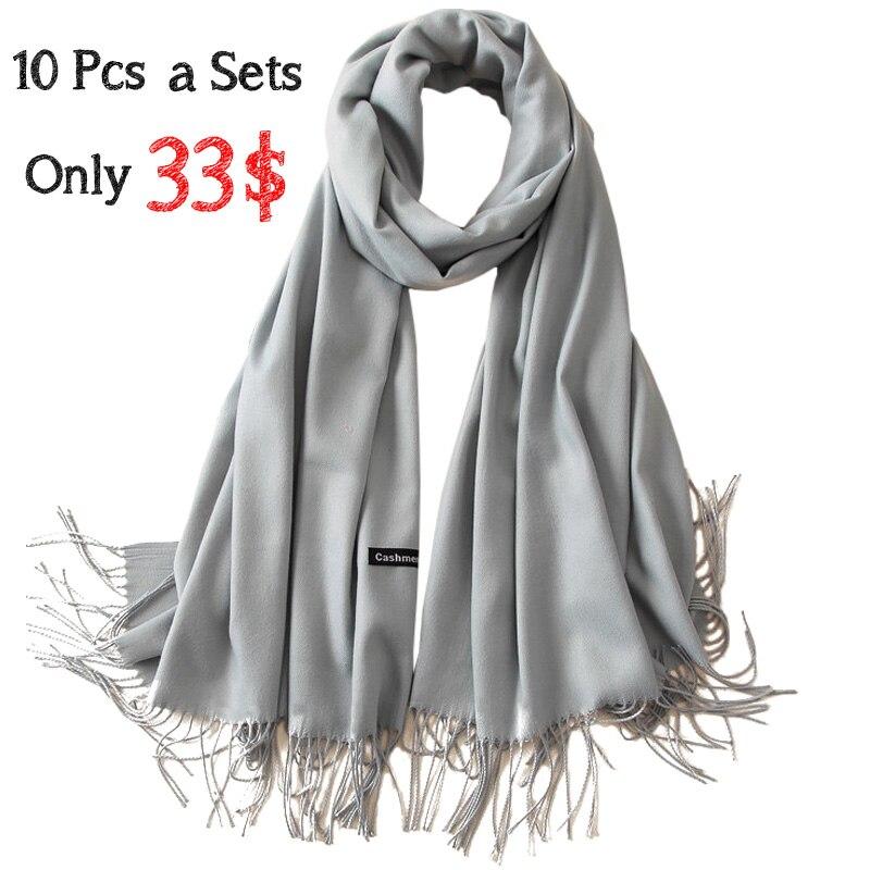 10 pièces a ensembles femmes cachemire solide écharpe été mince Pashmina châles et enveloppes femme Foulard Hijab étoles tête foulards
