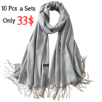 10Pcs a Sets Women Cashmere Solid Scarf Summer Thin Pashmina Shawls and Wraps Female Foulard Hijab Stoles Head Scarves