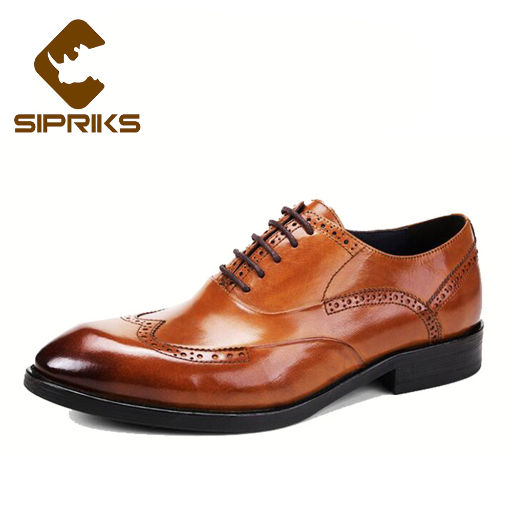 SIPRIKS Mens Business Office Shoes Tan Leather Wingtip Dress Shoes Pointed Toe Brogue Oxfords Elegant Black