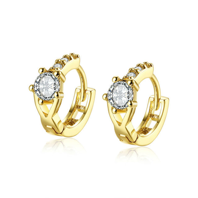 Women Bridal Fancy And Vintage Golden Jewelry Bling Round Cz Piercing Clip On Earrings Wedding Party