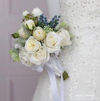 New ! white rose artificial flowers bridal bouquet fake flowers berry wedding bouquet bride bouquets wedding bridal supplies фото