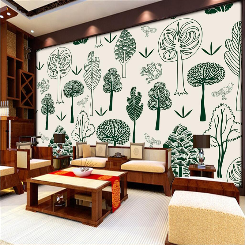 цена на Custom Tree Wallpaper Mural Hand Painted Abstract 3d Wall Paper Embossed Wall Paper TV Background Wall Mural Wallpaper Thicken