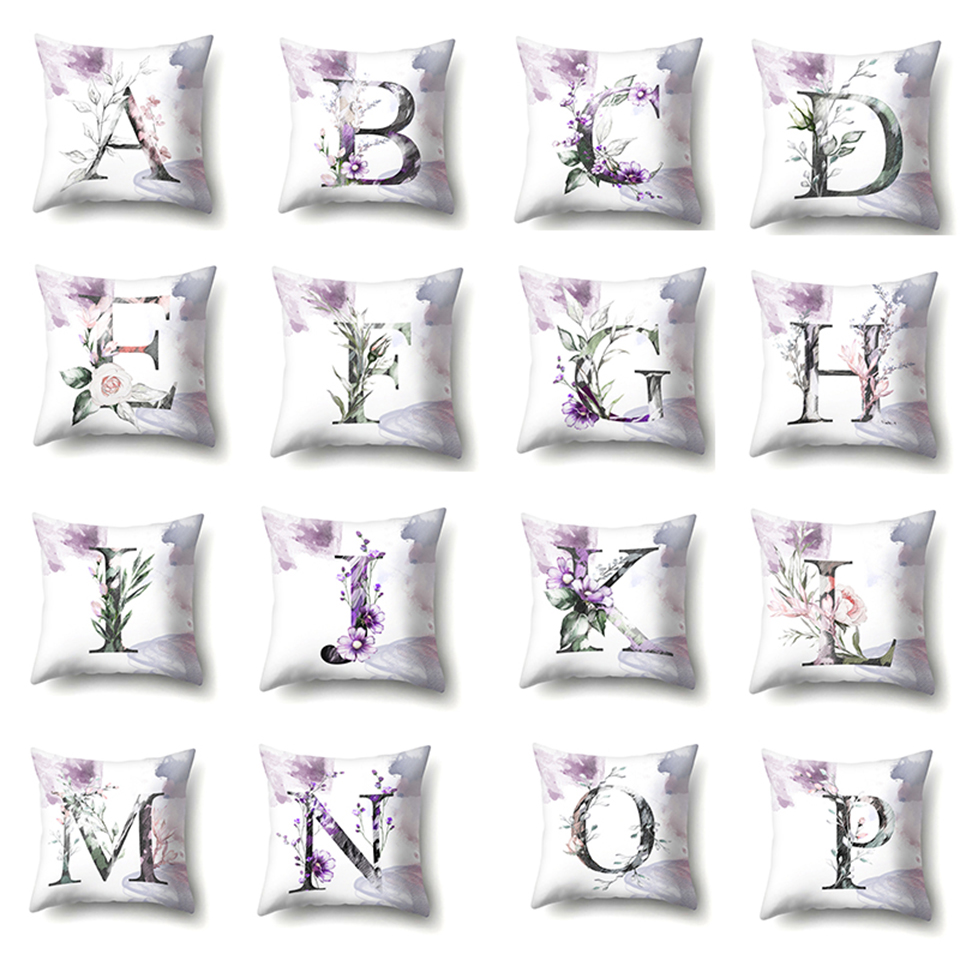 0 Nordic Violet Letters Cushion Cover Printed Flowers Throw Pillow Covers Decorative Purple Farmhouse Decor Plants Home Decoration