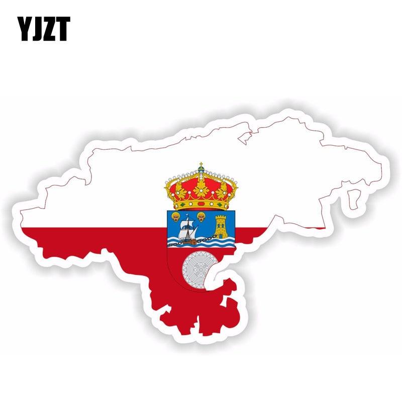 YJZT 16.3CM*10CM Cantabria Spain Map Flag Sticker Helmet Reflective Car Sticker Decal 6-1518