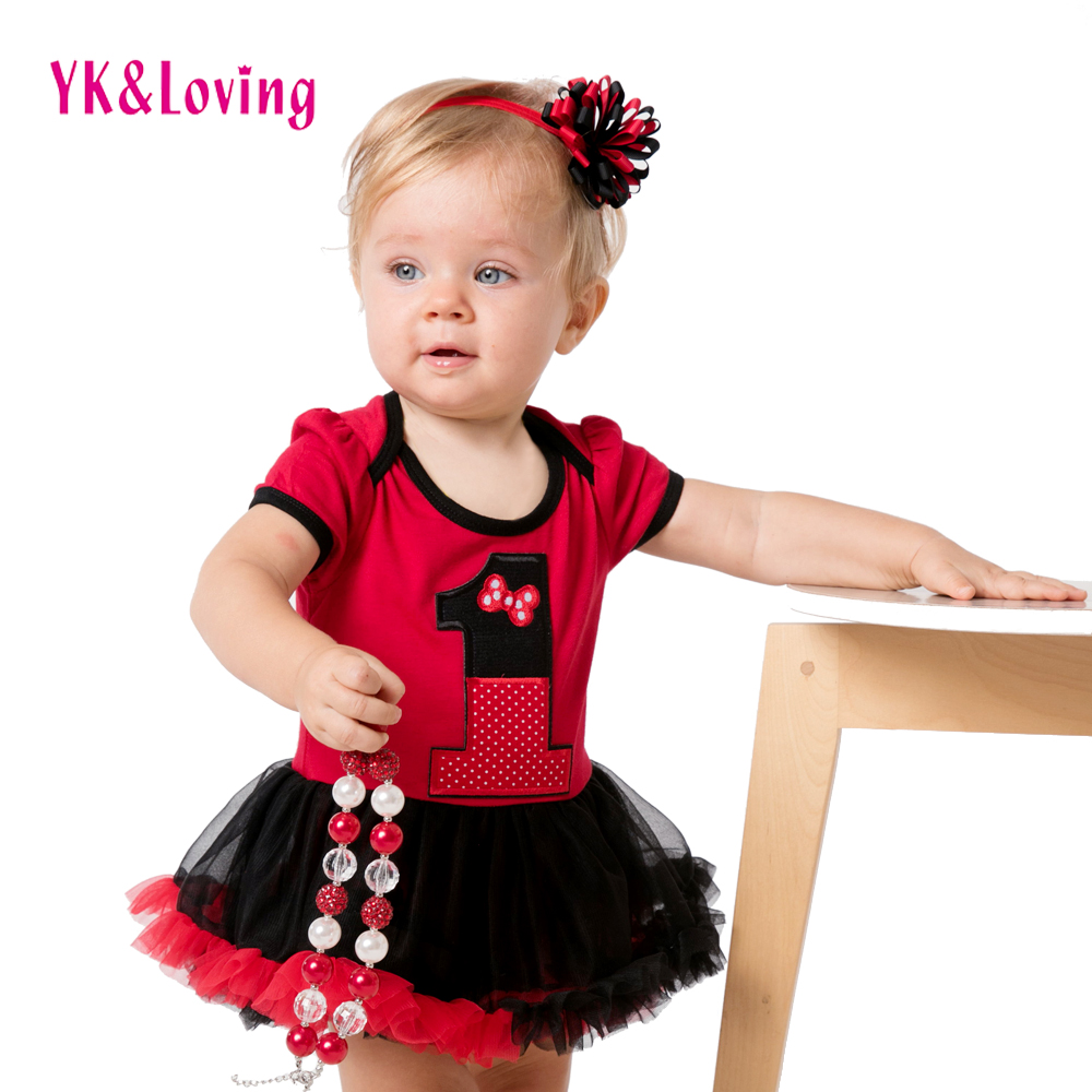 Fist Birthday Dress For 1 Year Old Baby Girl Clothing Red Cheap Infant Princess Romper Tutu -9344
