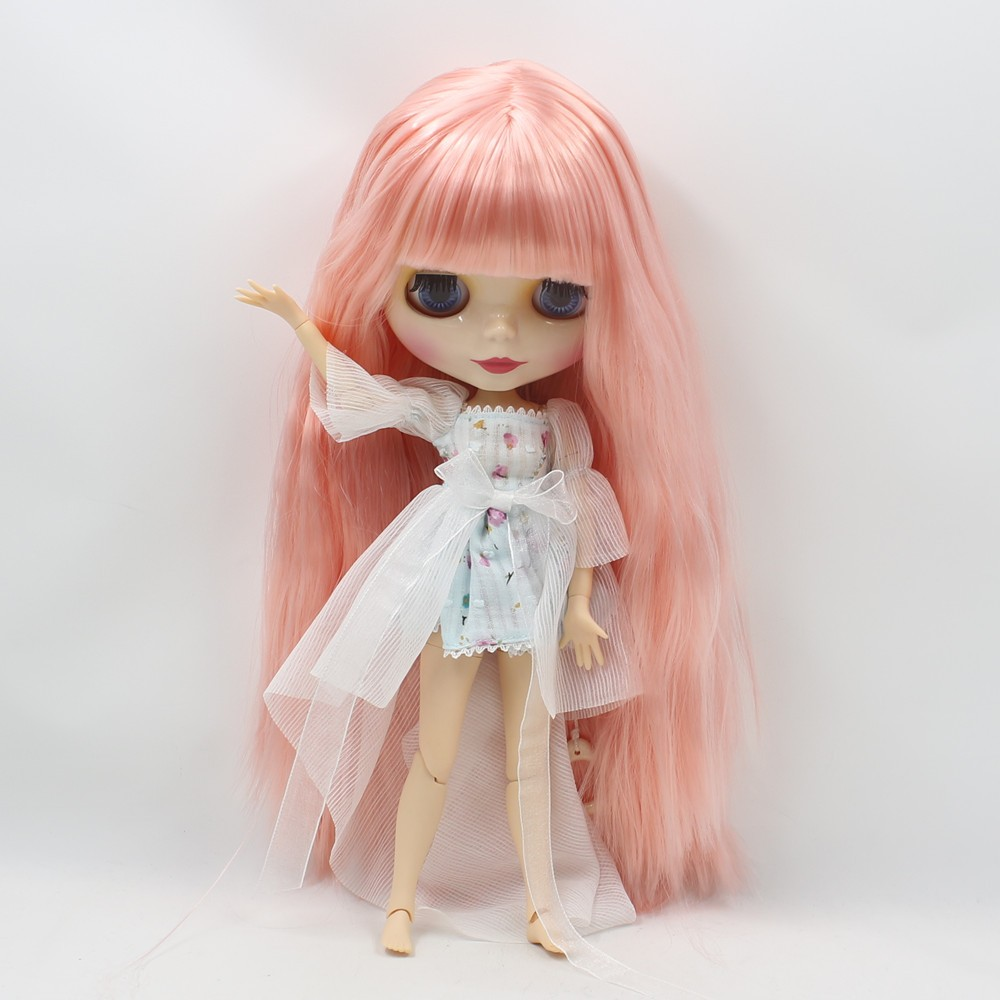 Neo Blythe Doll with Pink Hair, White Skin, Shiny Face & Jointed Body 3