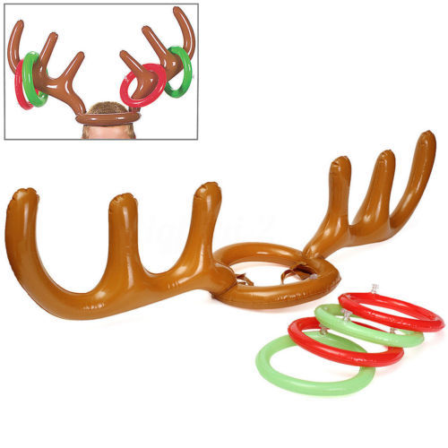 Inflatable Reindeer Hat Ring Christmas Toss Game
