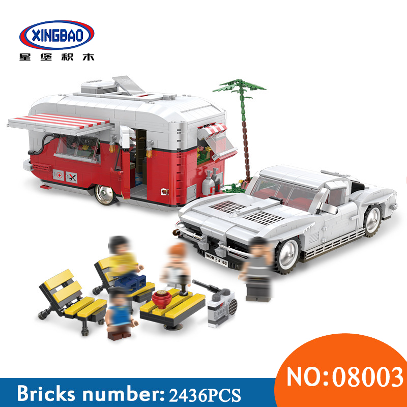 XingBao 08003 2436Pcs New Creative Series The MOC Camper Set Children Educational Building Blocks Bricks Toys For Children Gifts new 7968pcs lepin 15016 moc creative series the apple university set building blocks bricks educational children gifts toys