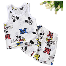 Baby Boys Clothes Sets Mickey T Shirt Summer Soft Ventilation Baby Girls T Shirt Ultra-thin Ice Silk Cartoon Baby Clothes Vest(China)
