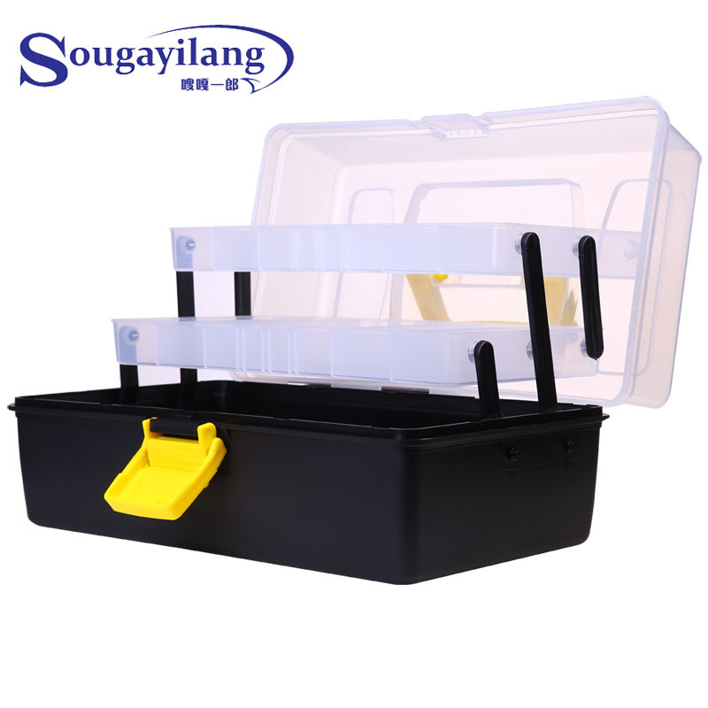 Sougayilang 3 Layer 30*18*15CM Big Fishing Box Strong Plastic Multifunctional Fishing Tackle Box Fishing Tool Case