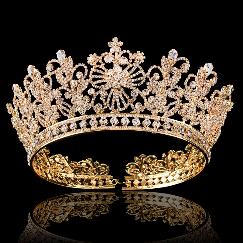 Gold Silver Full Round Crystal Queen Crown Rhinestone Bridal Tiara Pageant Prom Wedding Hair Jewelry Bride Big Crowns Headpieces