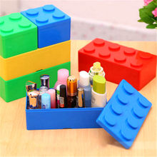 2019 New Desktop Office Stationery Cosmetics Building Block Shapes Plastic Saving Space Superimposed Creative Storage Box(China)