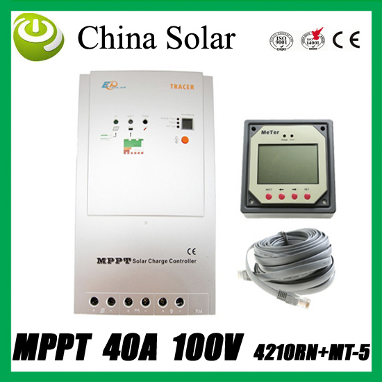 40A 12/24V  MPPT Solar Controller With MT-5 Remote Meter,  PV Panel Battery Charge Regulators,EP solar