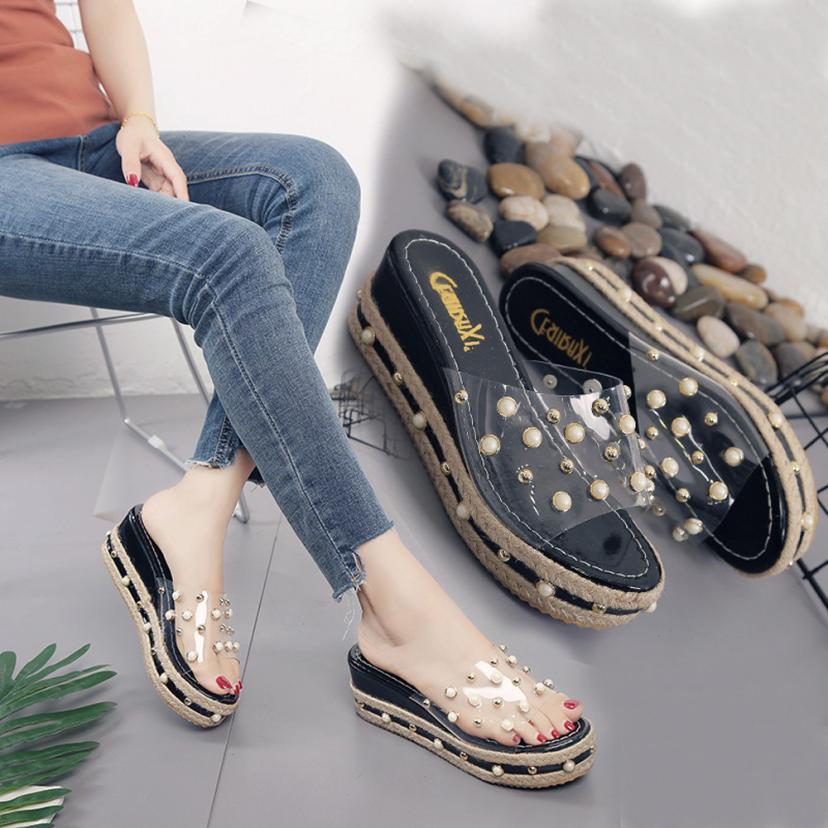 SAGACE обувь Вьетнамки жемчуг платформы шлепанцы Высота Увеличение сандалии слайд Нескользящая повседневная обувь женщин 2018JU1