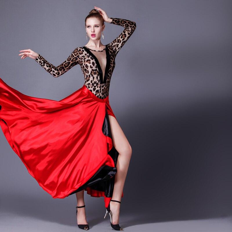 Fasjonable New Stle Spanish Dance Skirt Femal Black Red Latin Dance Dress AW-78