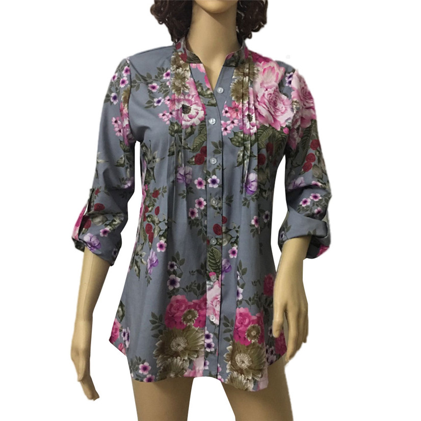 Free Shipping Lady Vintage Floral Print V-neck Tunic Tops Women's Fashion Plus Size Tops Shirt 80521 Drop Shipping 1