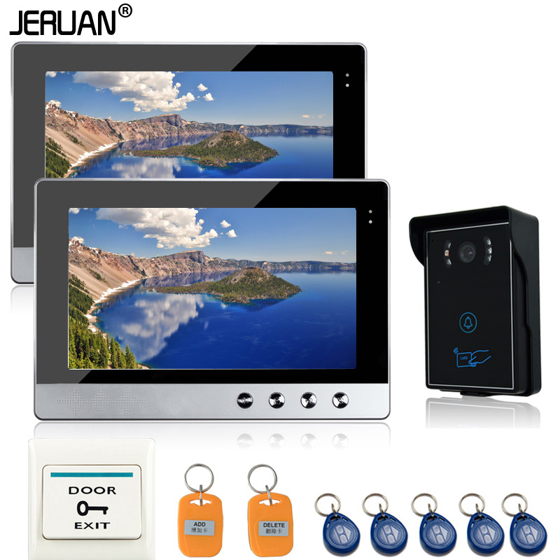 JERUAN Brand New10 Color Video Door Phone Intercom System 2 Screen + RFID Card Access waterproof Camera +1 exit buttonJERUAN Brand New10 Color Video Door Phone Intercom System 2 Screen + RFID Card Access waterproof Camera +1 exit button
