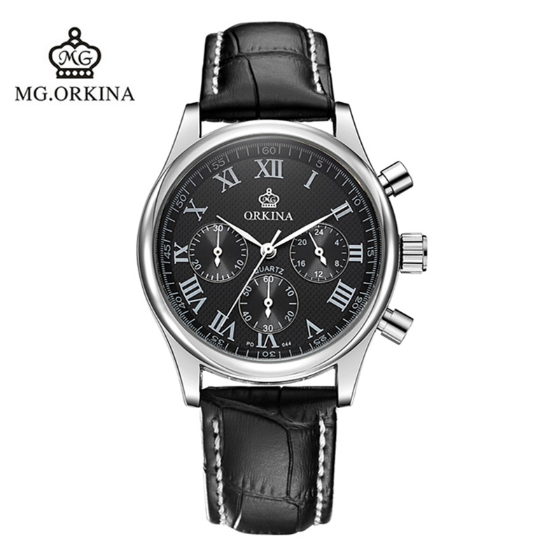 2016 Real Man Watch Blackcat Stainless Steel Orkina Brand Watches Leather Strap Quartz Fashion Table 30