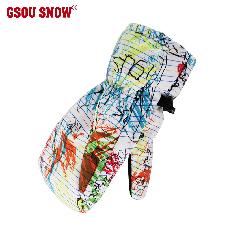 Gsou Snow 3-6 Years Ski Gloves Kids Mitten Waterproof Thermal Snowmobile Boys Sledge Skiing Gloves Windproof Enfant Gants 3005