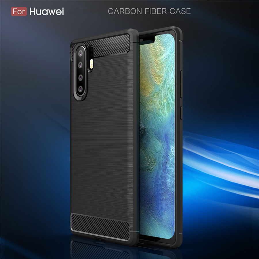 Huawei P30 Pro Case Cover Shockproof Huawei P30 P20 Lite P8 P9 P10 Plus Carbon Fiber Bumper TPU Silicone Protector Case Cover