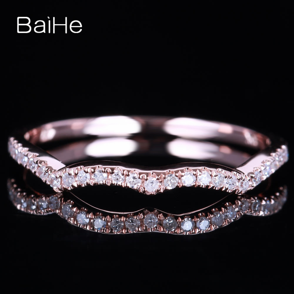 BAIHE Solid 14K Rose Gold(AU585)0.15CT Certified H/SI Round Cut Genuine Natural Diamond Wedding Women Trendy Fine Jewelry RingBAIHE Solid 14K Rose Gold(AU585)0.15CT Certified H/SI Round Cut Genuine Natural Diamond Wedding Women Trendy Fine Jewelry Ring