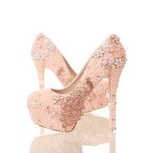Luxus Handmade Rosa Perlen Perlen Frauen Pumpen Phoenix Strass High Heels Kristall Braut Hochzeit Schuhe Frau