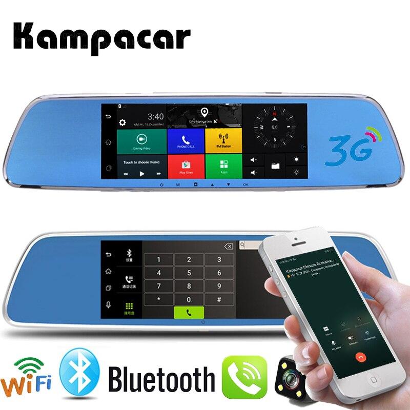Kampacar 3G Camera Mirror Wifi Bluetooth GPS Car Navigation Dash Cam 7 Touch Screen Car Dvr Camera Rearview Auto Video Recorder car dvr recorder android gps navigation 7 inch touch screen mp3 mp4 player wifi 3g fm transmitter car video recorder dash cam