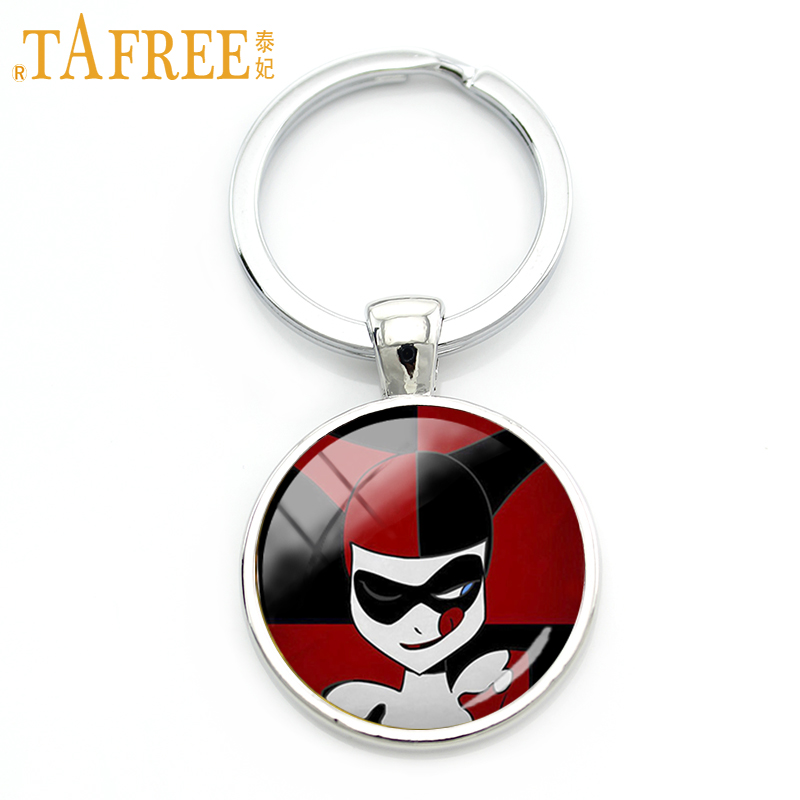 TAFREE Joker keychain a witty man with a sense of fun art picture glass Gem cabochon for women men 2017 new fashion jewelry A401