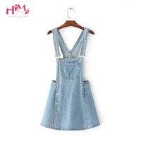 2018 Summer Women Blue Denim Jumper Dress Size Button Pocket Adjustable Strap Jeans Bib Overall Dress Korean Slim Mini Dresses
