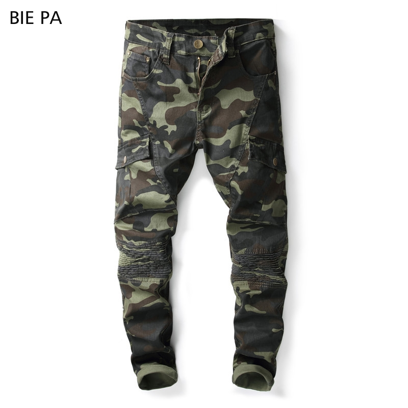2018 new men jeans brand fashion leisure classic camouflage jeans trousers cool jeans men #8013