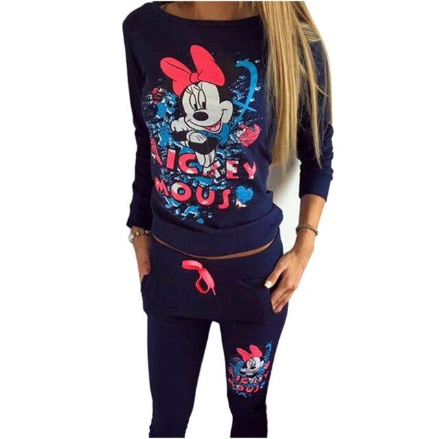 Fashion Tracksuit For Women Sweatshirt+Pants Set Winter Velvet Tracksuit Cartoon Print Suits Women Mikey 2 Two Piece Set Spring