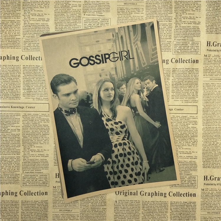 Gossip Girl Movie Core Poster Vintage Kraft Paper Comic Home Furnishing Decorative Art Painting Printed Draws